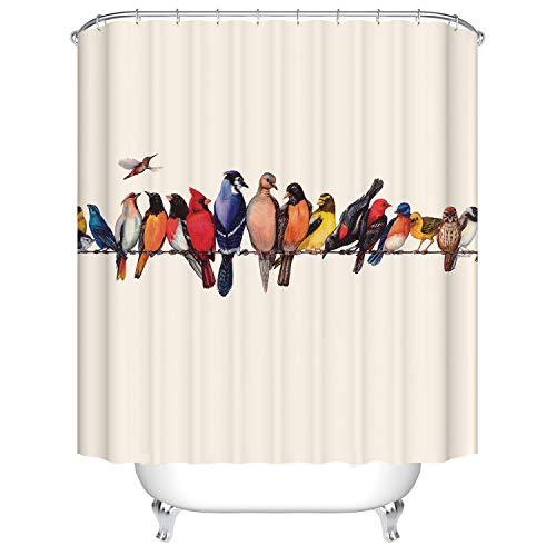 Vintage Bird Breeds Shower Curtain