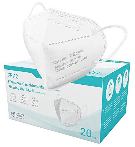 20x einzeln verpackte FFP2 Mundschutz, CE Zertifiziert und DEKRA geprüft nach EN149: 2001 + A1: 2009, Faltbare Halbmasken mit Nasenbügel und weichen elastischen Ohrschlaufen