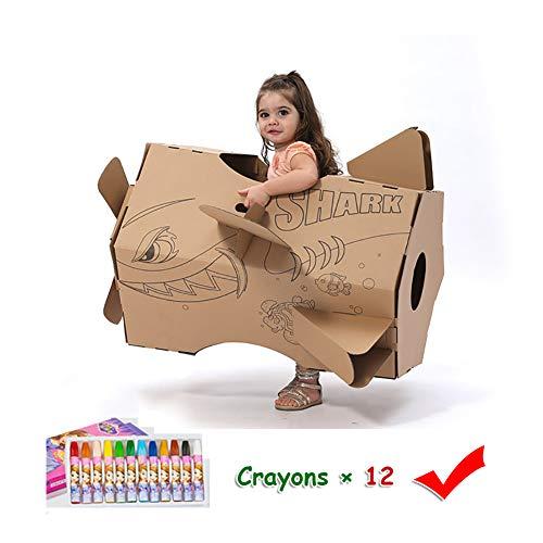 ROCK1ON Kinderen Karton Speelhuis Kinderen DIY Kleurplaten Pretenderen Rol Spelen Spel Opvouwbare Indoor Speelgoed Schilderij Papier Huis Kerstmis Verjaardagscadeaus - Inbegrepen 12 Crayons