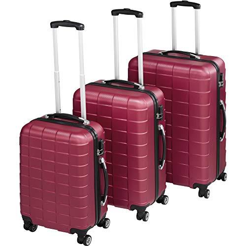 TecTake Set 3 Piezas Maletas ABS Juego de Maletas de Viaje Trolley Maleta Dura | 4 Ruedas de 360º | 2 Mangos y un asa telescópica (Rojo Vino | no. 402670)