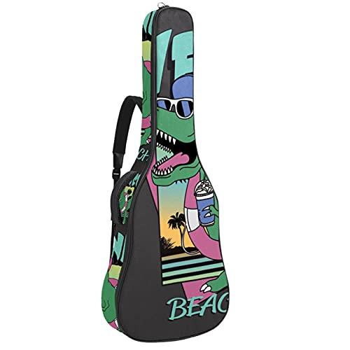 Funda De Guitarra Universal Gafas De Dinosaurio De Playa Acolchada 10Mm Con Bolsillos Para Guitarra Acústica Y Clásica Con Tamaño Más Grandes Para Guitarra De 42'' 109x43x12cm