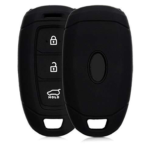 kwmobile Autoschlüssel Hülle kompatibel mit Hyundai 3-Tasten Autoschlüssel Keyless Go - Silikon Schutzhülle Schlüsselhülle Cover in Schwarz