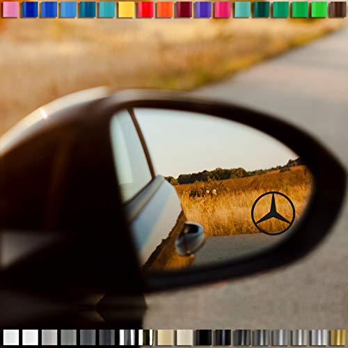Auto-Dress® 2X Mercedes Benz Spiegel Aufkleber Autospiegel 35x35mm (Schwarz-Glanz)