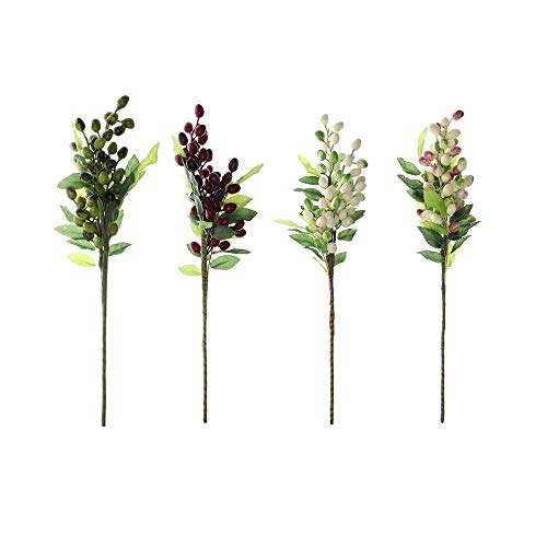 Faux Plant Photography Props Simulation Berry Fruit Artificial Olive Branch Plant Wall Home Decoration Party Supply(Multicolor)