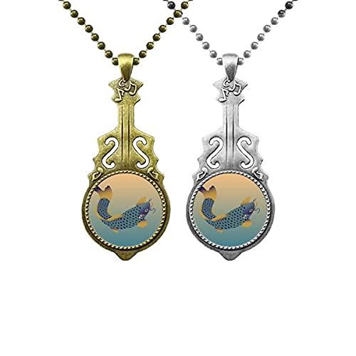 Malerei Kultur Blauer Fisch Liebhaber Musik Gitarre Anhänger Schmuck Halskette Anhänger