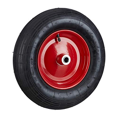Relaxdays, schwarz-rot Schubkarrenrad 4.80 4.00-8 luftbereift, Komplettrad 120 kg Traglast, Luftreifen m. Ventil