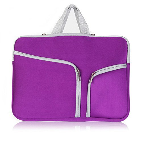 Zipper Briefcase Handbag Sleeve Bag Cover Case for Macbook Air & PRO 13 inch & Universal Laptop Netbook 13 inch (Purple)