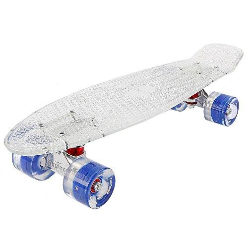 FunTomia Mini Board monopatín Skateboard 57cm - con o sin LED Ruedas - Wheel 59mmx45mm (82A) - Rodamiento ABEC-11 (Blanco Transparente/Azul - con LED)