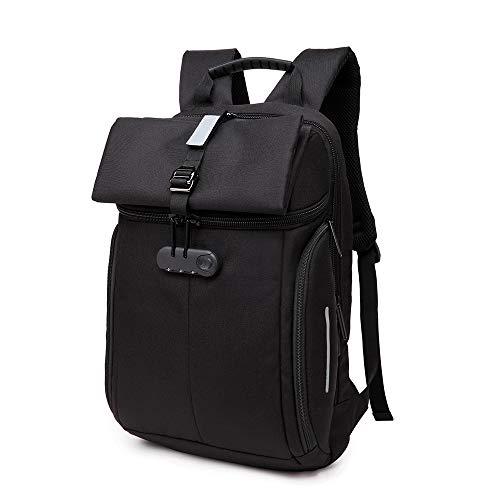 LIUJIE Business Laptop Zaino Resistente all'Acqua Anti-furto Collegio Zaino withLock 15,6 Pollici Backpacks Computer per Le Donne Uomini, Casual Escursioni Viaggio Zainetto,Black