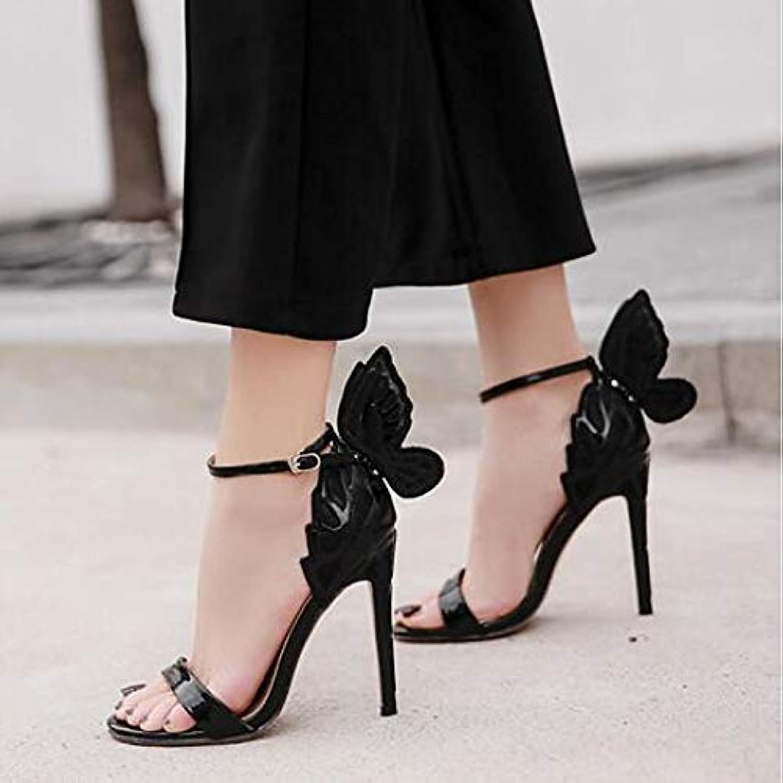 ZHZNVX Women's PU Spring & Summer Sandals Stiletto Heel Open Toe Black Silver Champagne Wedding Party & Evening