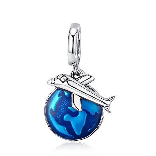 Blauwe Vliegtuig Reis de Wereld Nieuwe Aankomst 925 Sterling Zilver Reizen Rond Wereld Vliegtuig Charm Hanger fit Vrouwen Armband & Kettingen Sieraden