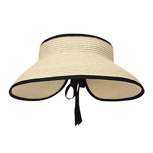 MK Matt KEELY - Cappello da spiaggia con paglia, da donna, pieghevole, a tesa larga, con fiocco Beige Style 2 Taglia unica