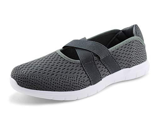 JABASIC Women Slip On Sneakers Casual Walking Knit Loafers Shoes (9.5,Grey)