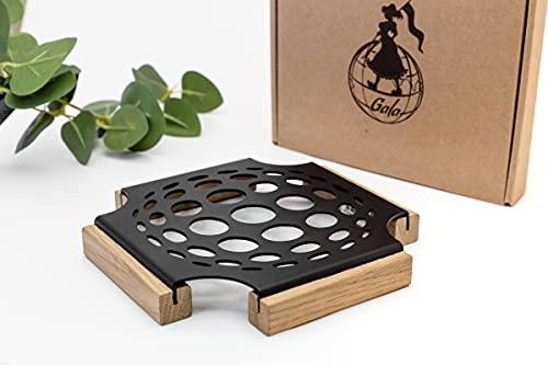 Gala Home Design Dessous de plat - Résistant à la chaleur - Dessous de plat antidérapant avec pieds en bois - Métal noir mat - Dessous de plat résistant