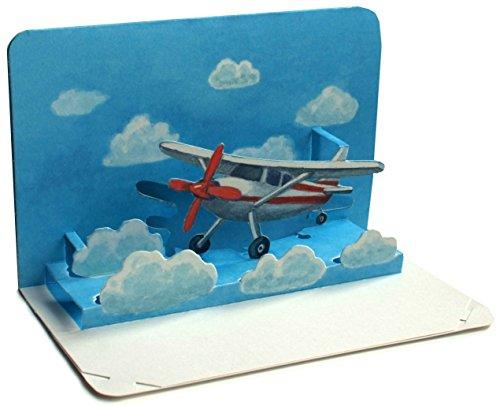 AVIÓN Pop-Up / 3 D tarjeta doblada desde un avión pequeño - ideal como un vale de viaje o como una tarjeta de cupón para un vuelo / vacaciones
