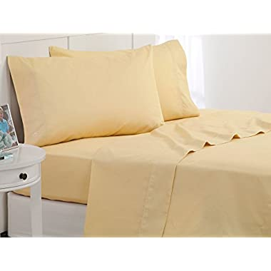 Southern Tide Skipjack Tonal Embroidered Twill Sheet Set, Queen, Moonlight Yellow
