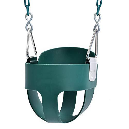 FZTX-LPX Eva Vollschaufel Kran Korb Schaukel Indoor und Outdoor Kinderschaukel Spielzeug, 1,5 Meter Eisenkette ist sicher und zuverlässig, kann 150㎏ tragen,Grün