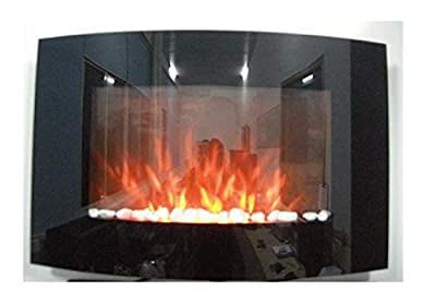 2018 New Large Wall Mounted Electric Fire Place Fireplace Heater with Black Curved Glass Screen Plasma Style 2000W MAX