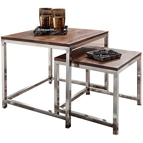 FineBuy Couchtisch Java 2er Set Satztisch Metall Beine Sheesham Holz massiv | Massiver Wohnzimmertisch quadratisch braun | Beistelltisch Massivholz | Design Holztisch Wohnzimmer