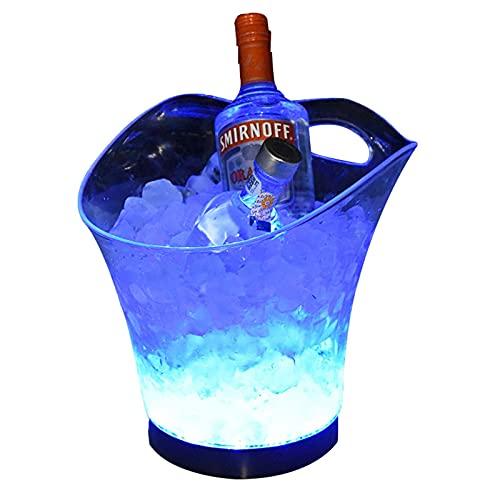 Hielo Cubo de Champán, Colorido LED Luz Ice Bucket 5L de Alta Capacidad 7 Colores cambiantes Champagne Vino Bebidas Cerveza Hielo Enfriador Curva Diseño Bar Club Pub