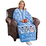 Collections Etc Snowman and Snowflake Soft Fleece Blanket Cuddle Wrap