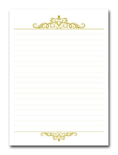 """Premium Gold Accent Executive Notepad, 5"""" x 7"""", 50 Pages, 70 lb. Paper, Cardboard Back - Printed in USA"""