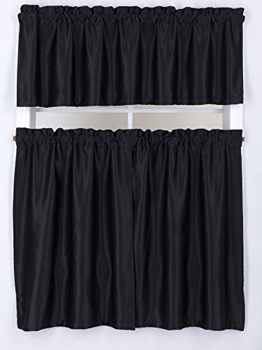 """Sapphire Home 2 Tier (36"""" L) + 1 Valance (18"""" L) Blackout Solid Curtain Panels 54"""" W x 36"""" Long, Rod Pocket, Soft Woven Fabric, Curtains for Kitchen or Small Window, Room Darkening Tier Panels, Black"""