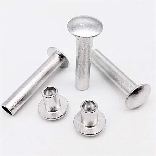Remaches y roblones, 10 / 50pcs botón M2 M3 M4 M5 M2.5 M6 GB873 Ronda de aluminio plana cabeza segmentada de la mitad semi hueco del remache (Color : M6 10pcs, Size : 20mm)