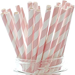Pink Formal Paper Party Straws - 25 Pack – Girl Baby Shower Straws, Princess Straws, Pink Striped Straws