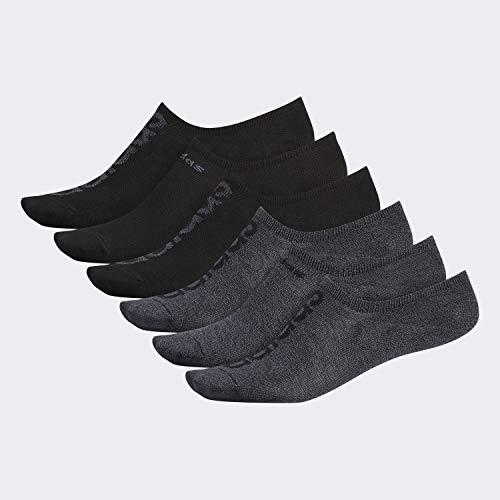 adidas Men's Superlite Linear Super No Show Socks (6-Pair), Black - Onix Marl/Black Black/Black - Onix Marl/Onix, Large, (Shoe Size 6-12)