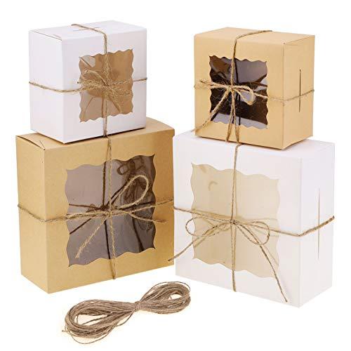 HOWAF Boîtes à Cupcakes,Kraft,Blancs boîtes à gâteaux avec fenêtre et 1 Corde,boîtes à Biscuits,contenants à Cupcakes avec fenêtre pour pâtisseries,Biscuits,Petits gâteaux,Tarte, Cupcakes,15 pièces