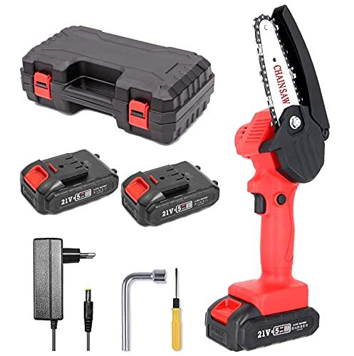 Mini Kettensäge mit Zwei Akku 21V, Akku Kettensägen Elektro 4 Zoll Klein, Led-Beleuchtung, Akku-Handkettensäge mit Ladegerät und 2 Batterien für Holz und Gartenarbeiten