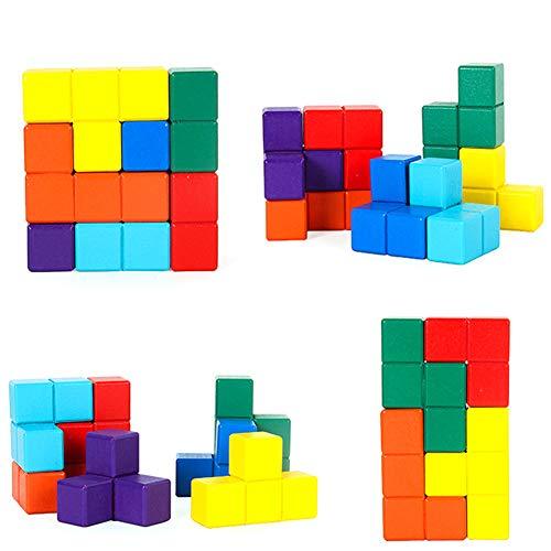 Juguetes para niños Educación Temprana Cubo Cubo Tetris Tangram Rompecabezas de Color Bloques de construcción de Inteligencia de Rubik