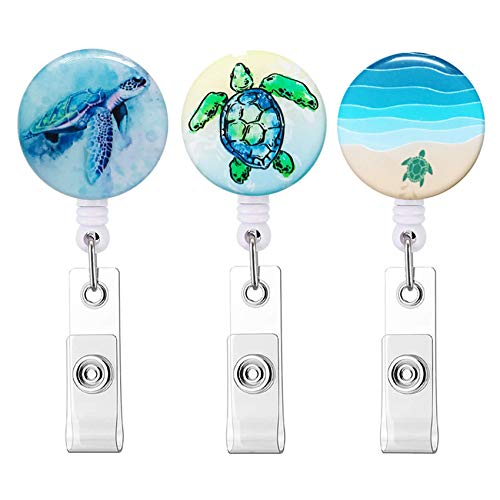 Badge Reel Cute Pattern Retractable Badge Holder with Alligator Clip, Nurse Name Decorative Badge Clip on ID Card Holders (3pack Turtle)