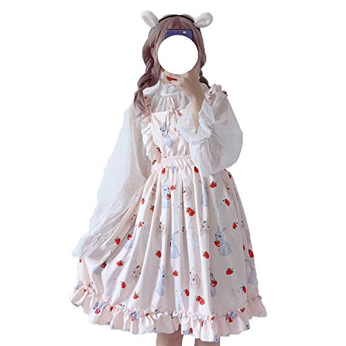 Packitcute Summer Dresses for Girls Bunny Printed A-Line Midi Dress (Light Pink (Blouse+Dress))