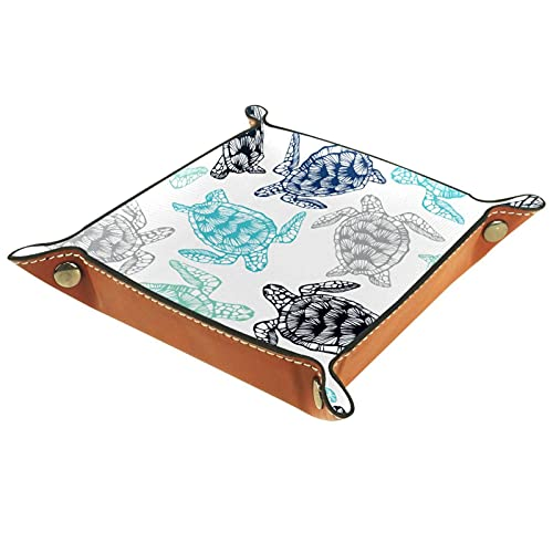AITAI Bandeja de valet de cuero vegano, organizador de mesita de noche, placa de almacenamiento de escritorio de las tortugas marinas