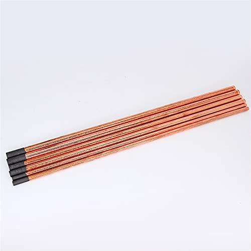 Varillas de soldadura 5 piezas de varillas de soldadura de arco de carbono de cobre, varilla redonda de grafito para pistola de gas CC electrodo de carbono varilla de 4 a 10 mm de diámetro (10 mm)
