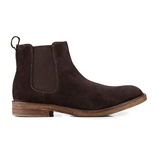 Belmondo Herren Chelsea-Boots aus Leder, Stiefeletten in Dunkel-Braun mit Gummi-Sohle Braun Rauleder 44