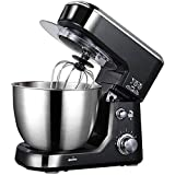 500W Mixer 5-Speed Stainless Steel Bowl, Electric Kitchen Mixer with Tilting Hooks for kneading, Whisk, Whisk, Side Shield (Black)