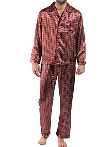 Men's Satin Pyjama Sets Nightdress Silky Satin Long Satin