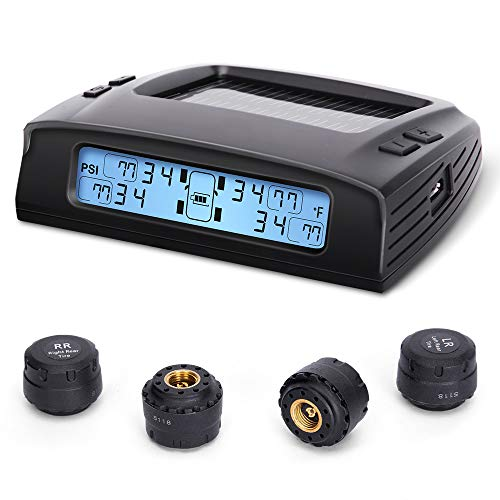 Tymate Tire Pressure Monitoring System - 4 External Sensor (0-87 PSI) Tire Pressure Monitoring System (Solar Tpms), 5 Alarm Modes, Auto Backlight LCD Display, Auto Sleep Mode, Real-time Monitor