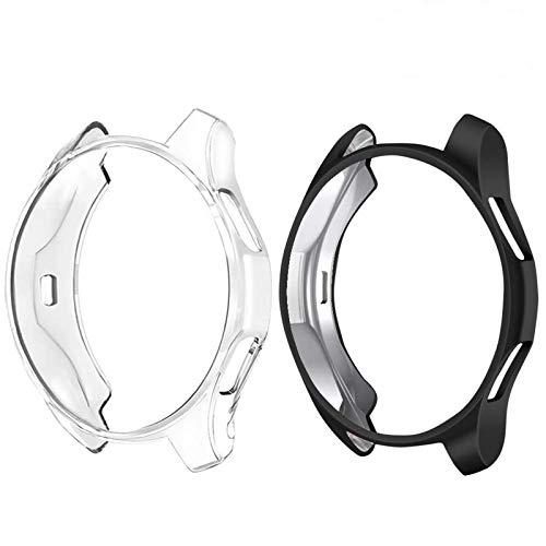 CAVN Schutzhülle Kompatibel mit Samsung Galaxy Watch 46mm / Gear S3 [2-Stück], Soft TPU Kratzfest Schutzhülle Schale Hülle für Gear S3 Frontier/Classic/Galaxy Watch 46mm, Schwarz und Klar