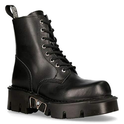 New Rock Mili-084N-S3 Schwarz Gotisch Stiefel Militär Unisex 8 Loch Motorradfahrer Schuhe Goth 45
