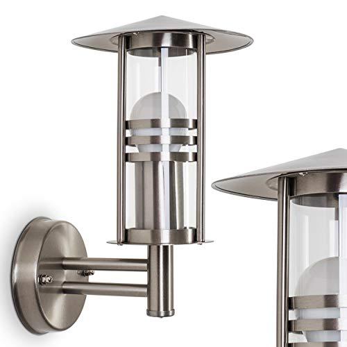 Buitenwandlamp Forli, wandlamp van roestvrij staal met helder glas, wandlamp met E27 fitting, max. 40 Watt, 32 cm hoogte, moderne buitenlamp voor terras en binnenplaats, geschikt voor LED-lampen