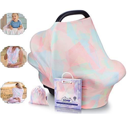 NatureBond Stillschutz Stillen   Atmungsaktiver und sicherster Baumwollbezug Mehrzweck für Baby Autositzbezüge Baldachin Einkaufswagenbezug Schal Licht Decke Kinderwagen (Sunrise Pink)