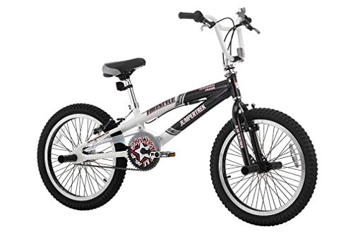 CINZIA - Bicicleta de 20 Pulgadas BMX Freestyle Rock Boy de Aluminio Blanco y Negro