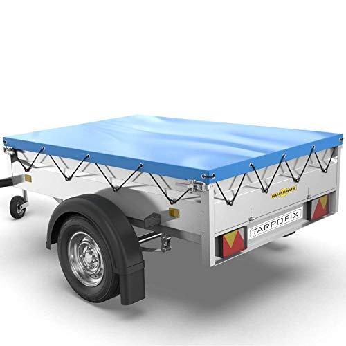 Tarpofix® Anhängerplane Flachplane 258x136x8 cm - randverstärkte Anhänger Plane (blau) - langlebige Anhänger Abdeckplane - Ideal für Humbaur HA132513 sowie diverse Böckmann & Neptun PKW Anhänger 750kg