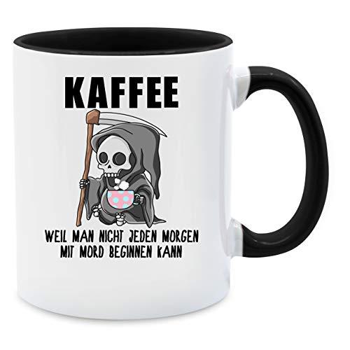 Tasse mit Spruch - Weil man nicht jeden Morgen mit Mord beginnen kann - Unisize - Schwarz - tasse arbeit - Q9061 - Kaffee-Tasse inkl. Geschenk-Verpackung