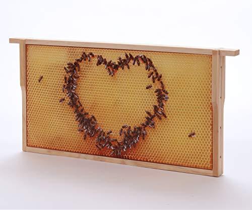 WACHSMACHER Bienenwaben-Bild: Honigwabe mit Bienen-Herz, Geschenkidee für Imker und Bienenfreunde, Bienen Geschenk, Dekoration, Geschenk zum Muttertag, Ostern, Imkerin