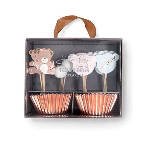 Hatton Gate Teddy Bear Cupcake Kit 24 Cupcake Koffer mit 24 verschiedenen Picks pro Packung